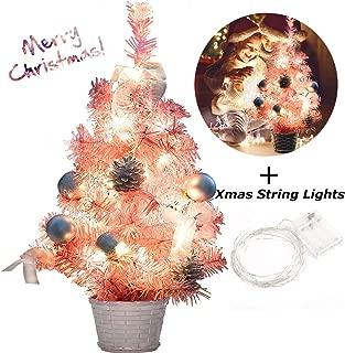 B bangcool Pink Christmas Tree Mini Christmas Tree Artificial Christmas Tree for Table and Desk Tops (Pink Christmas Tree)