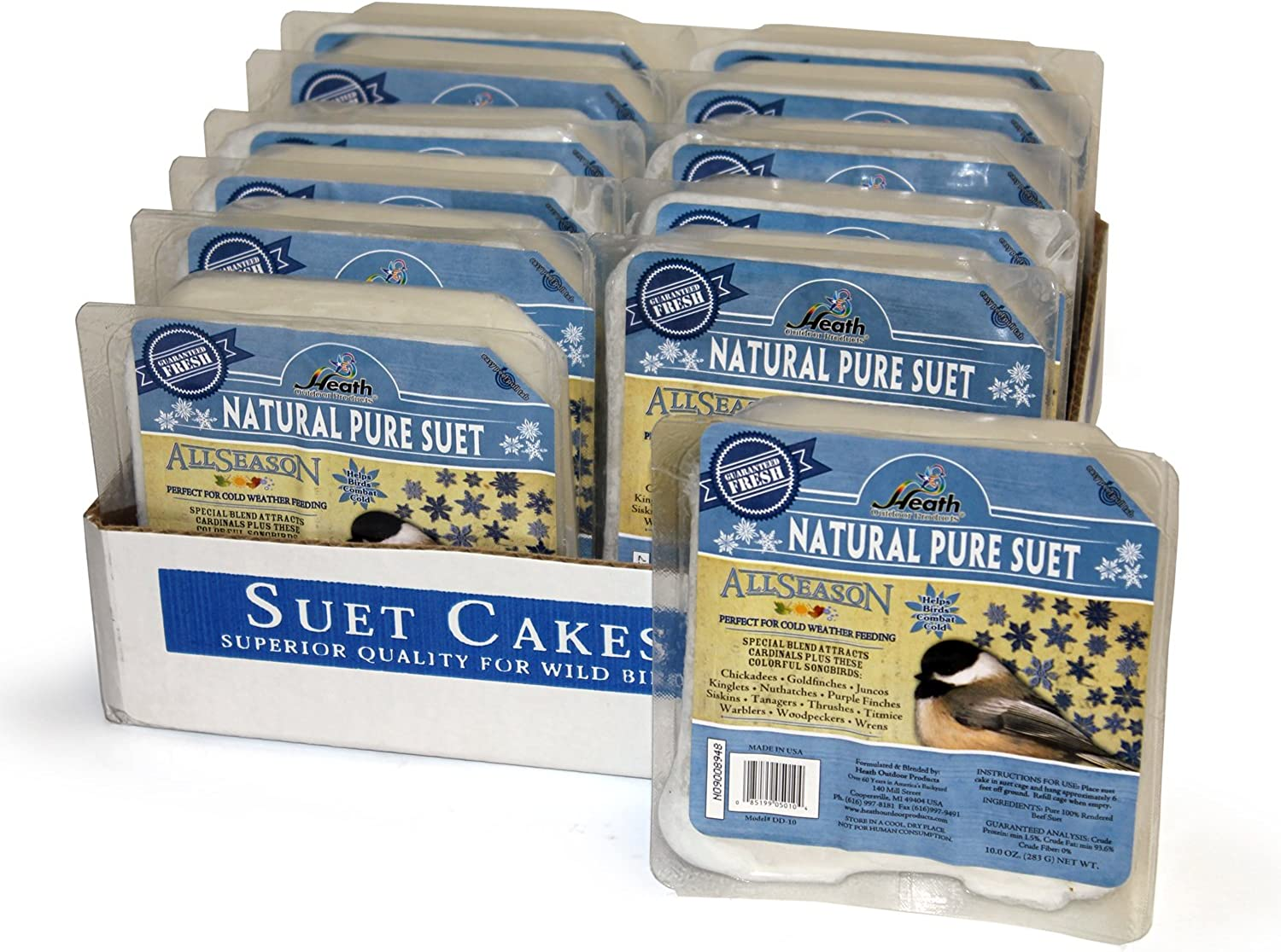 Heath Outdoor Products DD10 Natural Pure Suet Cake, Case Of 12