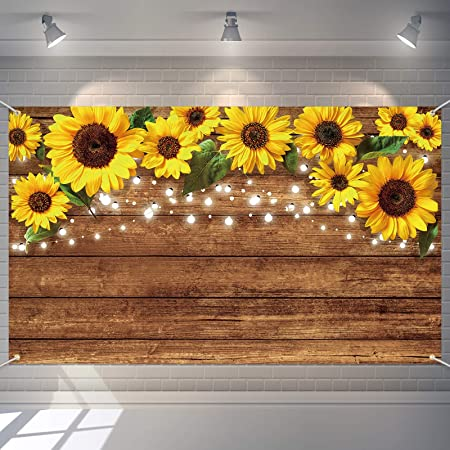 Zhy Yellow Sunflower Field Background 7X5FT Baby Shower Rustic Floral Cake Smash Birthday Party Banner Dessert Table Decoration Photography Backdrop Polyester Photo Booth Props GEEV048