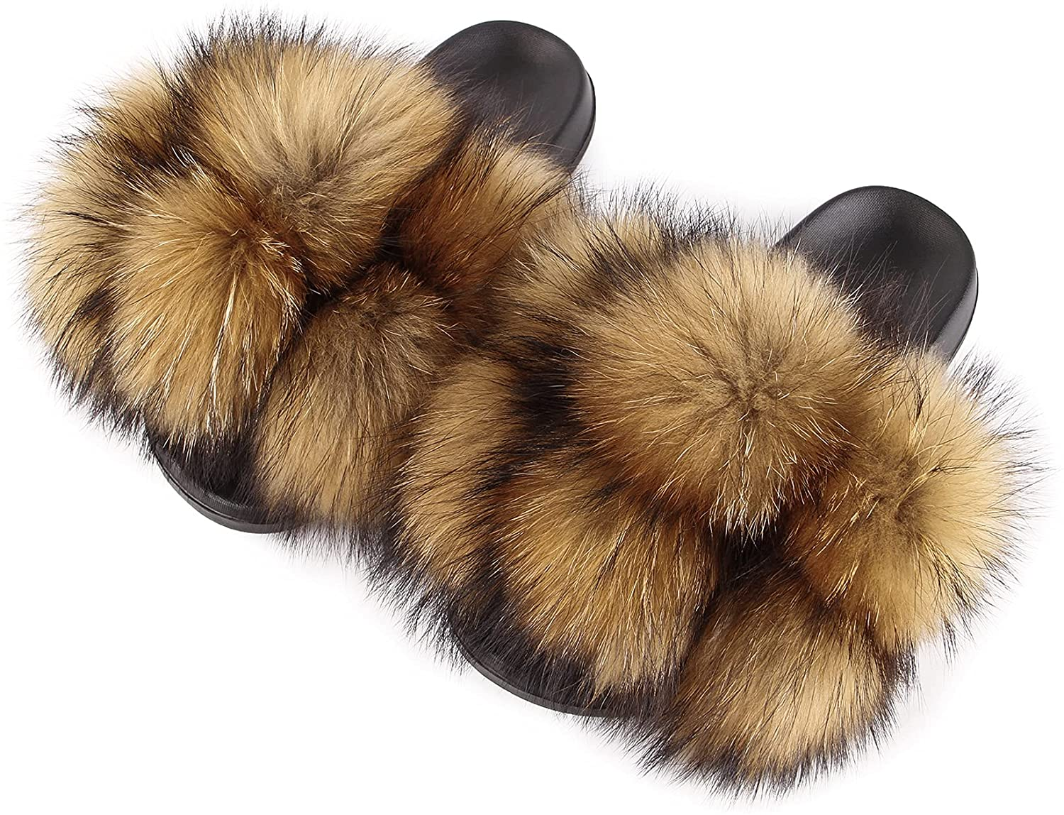 Women's Real Max 73% OFF Fox Furry Fur Open-Toe In Slides Max 74% OFF Sandals Cute