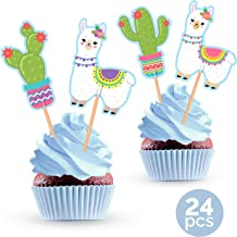 Llama and Cactus Cupcake Cake Toppers - Mexican Fiesta Alpaca Birthday Party Baby Shower Decorations Supplies - 24 Pieces