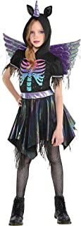 Party City Zombie Unicorn Halloween costume for Girls, Includes Hooded Dress and Wings