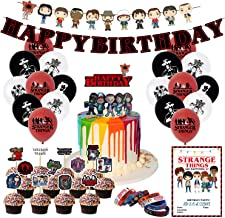 Nelton Birthday Party Supplies For Stranger Things Includes Banner - Cake Topper - 24 Cupcake Toppers - 18 Balloons - 10 I...