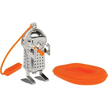 HIC Harold Import Co. 93246 HIC Tea Infuser with Drip Tray, Scuba Diver and Raft, 18/8 Stainless Steel/Silicone, silver