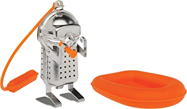 HIC Harold Import Co. HIC Tea Infuser with Drip Tray, Scuba Diver and Raft, 18/8 Stainless Steel/Silicone, silver