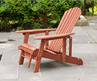 Leisure Season - AC7105 - Reclining Adirondack Chair With Pull-Out Ottoman - Brown - 1 Piece - Modern Patio, Poolside, Deck and Lawn Outdoor Furniture with Retractable Footrest, Natural Wood Finishing
