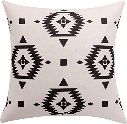 featured product BreezyLife Aztec Throw Pillow Covers Black and White Decorative Pillow Cases Linen Square Cushion Covers for Sofa Couch Farmhouse Outdoor 20x20 inches(White)