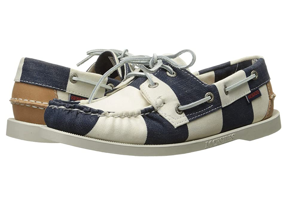 Image of Sebago Spinnaker (Navy/White Striped Canvas) Women's Lace up casual Shoes