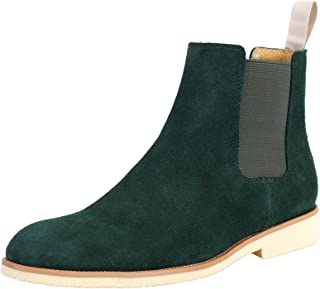 SANTIMON Men's Formal Dress Casual Ankle Chelsea Boot Suede Leather Slip on Chukka Boots Black Brown Green