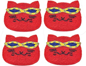 Storeindya Beaded Coaster 4-Pack Absorbent Drink Coaster Set Non Slip Bar accessories Christmas Gifts Non Slip Drink Coasters Party Home Décor Gifts (Yellow - Cat Design)
