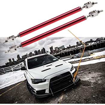 X AUTOHAUX Car Adjustable Front Bumper Lip Splitter Support Rod Carbon Fiber Pattern Purple