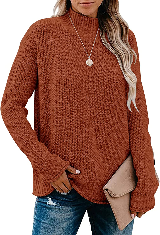 MEROKEETY Women's Long Sleeve Turtleneck Cozy Knit Sweater Casual Loose Pullover Jumper Tops