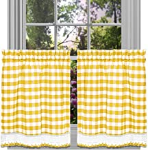 GoodGram Buffalo Check Plaid Gingham Custom Fit Farmhouse Café Styled Window Tier Curtain Treatments - Assorted Colors & Sizes (Yellow, 24 in. Length)