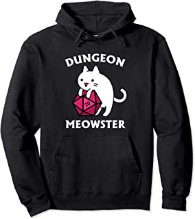 Dungeon Meowster Funny Gamer Cat D20 Gift Pullover Hoodie