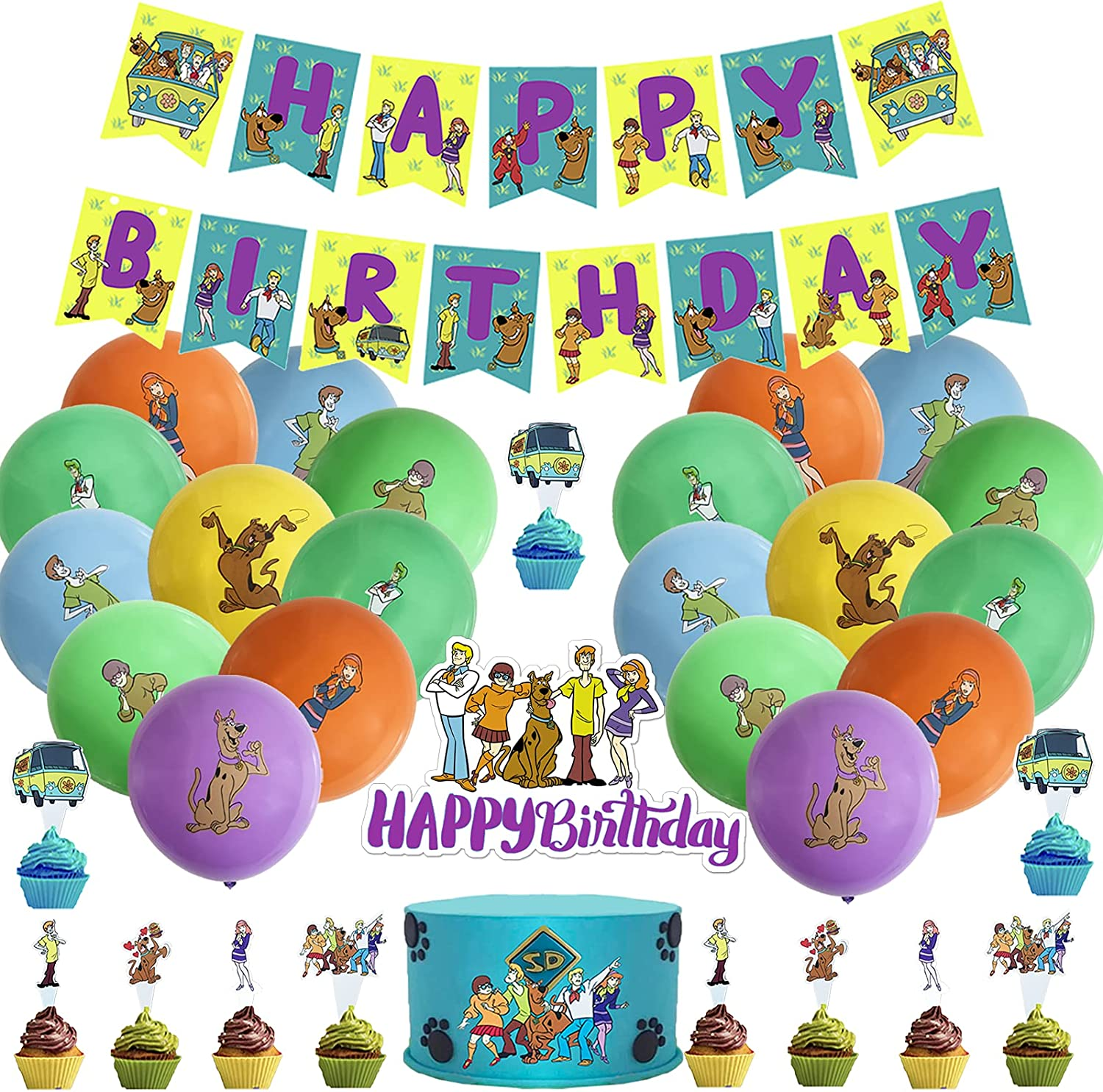 51Pcs Scooby-Doo Limited price Birthday Max 55% OFF Party Happy Including1 Bir Decorations