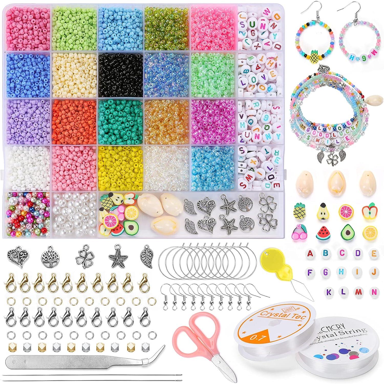 Bolitas para Hacer Pulseras Collares Abalorios-Set - 9200 Cuentas de Cristal Colores, 3mm DIY Perlas Conchas para Bisutería, Beads Manualidades Kit para Aadultos y Niños, FOREDOO