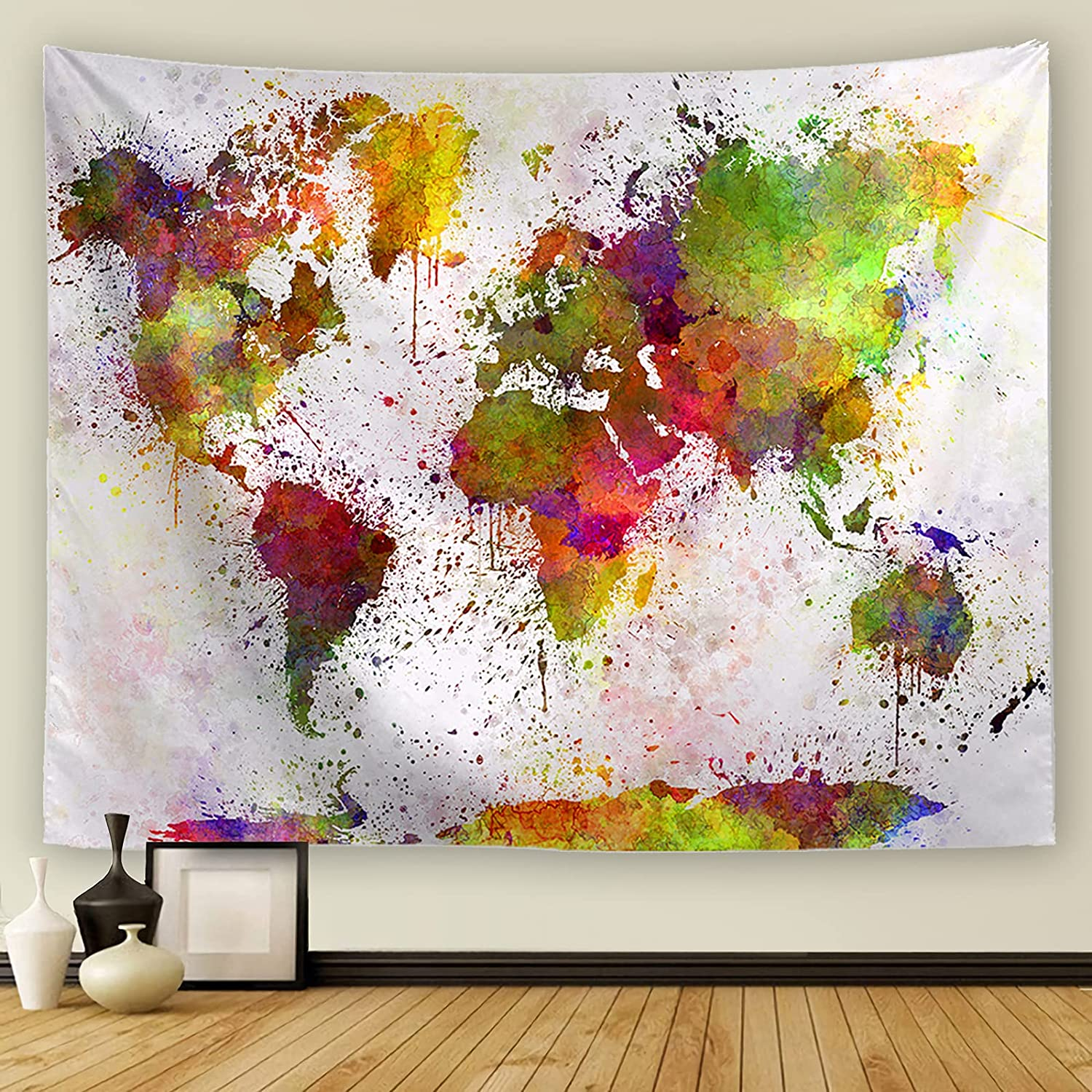 Yeacun Colorful Watercolor World Map Tapestry Abstract Splatter Painting Tapestry Wall Hanging Art Wall Hanging for Living Room Bedroom Dorm Home Decor(60L x 50W inches)