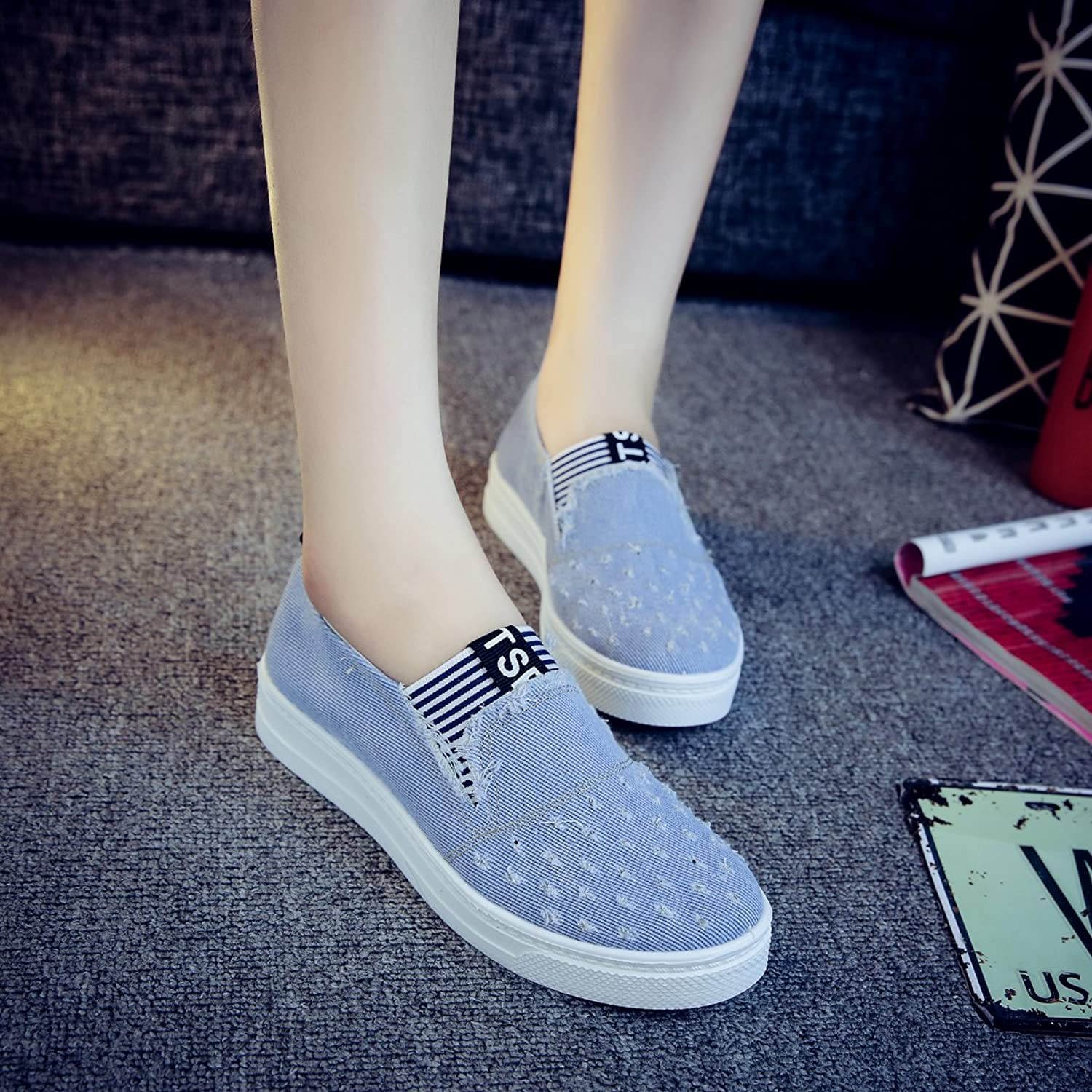 Brighty-U Durable Fashion Women's Jeans shoes Flats Fashion Casual Denim shoes Soft Soles Students Canvas shoes Breathable Orientpostmark