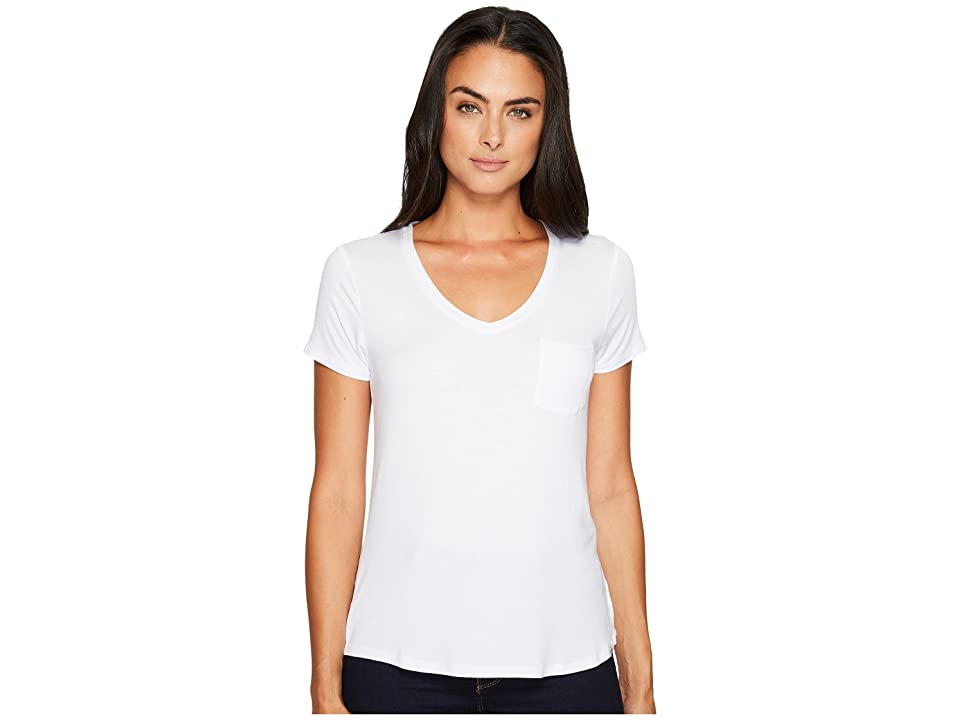 Prana Foundation Short Sleeve V-Neck Top (White) Women