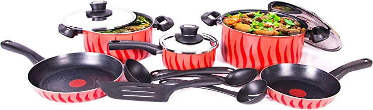 Tefal Tempo Non-stick Coating Cooking Set, Red/Black, C5489482, 12 Pieces