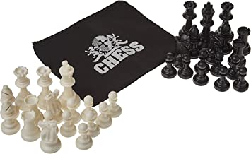 WE Games Plastic Staunton Tournament Chess Pieces in Black and Cream - 3.75 in King