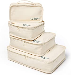 NORTHERN OLIVE Organic Cotton Travel Packing Cube 4 Piece Set. ECO Friendly. Durable. (Natural, Beige)