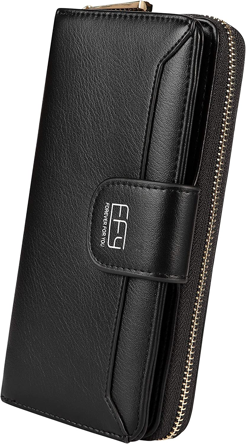 Cynure Women's Long 12 excellence Slots Card Holder Clu Zipper Arlington Mall Leather
