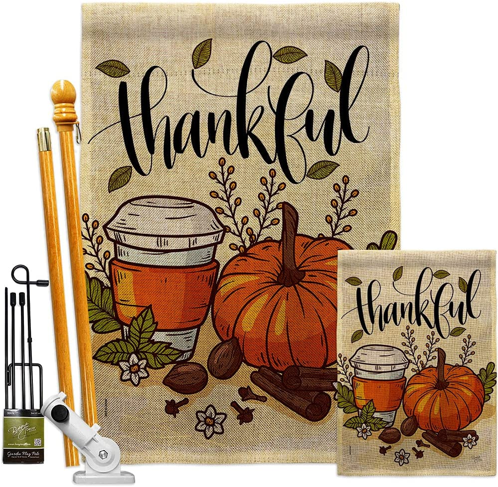 Breeze Decor Thanksgiving Thankful Burlap Challenge the Max 42% OFF lowest price of Japan ☆ House Kit Garden Flags