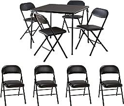 Cosco 5-Piece Card Table Set, Black Bundle with Cosco Vinyl Folding Chair, 4-Pack, Black
