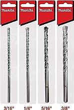 Makita 4 Piece - Concrete Drill Bit Set For Hammer Drills - Precise Drilling For Masonry & Concrete - Tungsten Carbide Bits