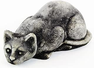 Fleur de Lis Garden Ornaments LLC Crouching Cat Cement Figurine Collection Concrete Animal Collectible Decor Kitty