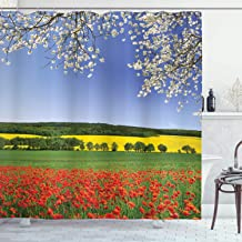 Ambesonne Flower Shower Curtain, Poppy Field with a Spring Landscape and Blossom Tree View in Meadow Nature Image, Cloth Fabric Bathroom Decor Set with Hooks, 75 Long, Red Blue