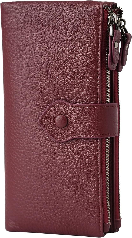 Women RFID Blocking Multi Credit Card Holder Genuine Leather Bifold Slim Wallets with Zipper Pocket