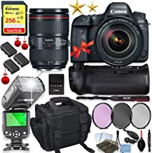 Canon EOS 6D Mark II DSLR Camera with 24-105mm f/4L II Lens Kit + 256GB Sandisk Memory, TTL Speedlight Flash (Good Up-to 180 Feet), Pro Power Grip + Holiday Special Bundle