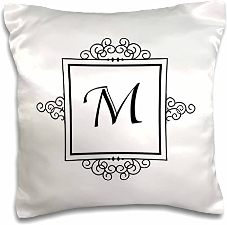 3drose Pc 154336 1 Initial Letter M Personal Monogrammed Fancy Black And White Typography Personalized Pillow Case 16 By 16 Arts Crafts Sewing
