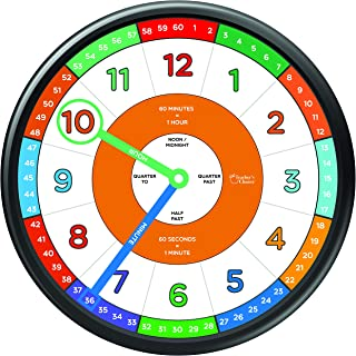 Educational Wall Clock - Silent Movement Time Teaching Clock for Teacher's Classrooms and Kid's Bedrooms with Window Hands, Perfect for Children with Special Needs.