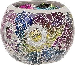 Maturi Crackled Glass Mosaic Tea Light Holder, Multi Coloured, 8 x 7.5cm