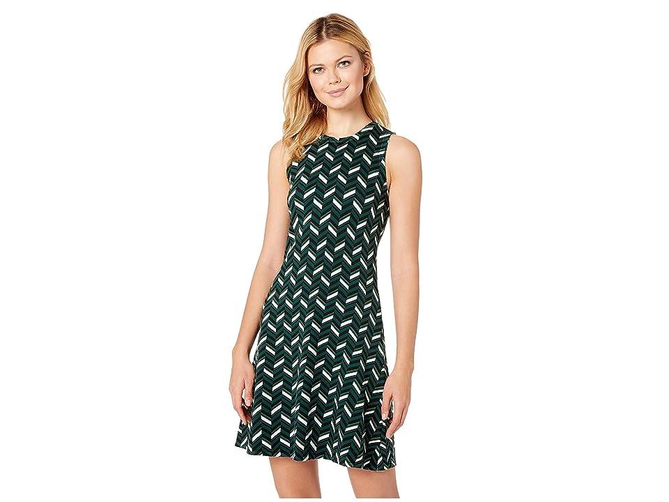 MICHAEL Michael Kors Chic Chevron Print Dress (Dark Emerald) Women