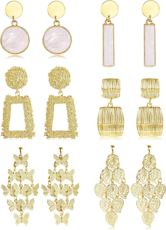 FINREZIO 6 Pairs Clip on Drop Earrings for Women Bohemian Geometric Earrings Statement Ear Clips Non-Piercing Hanging Earrings