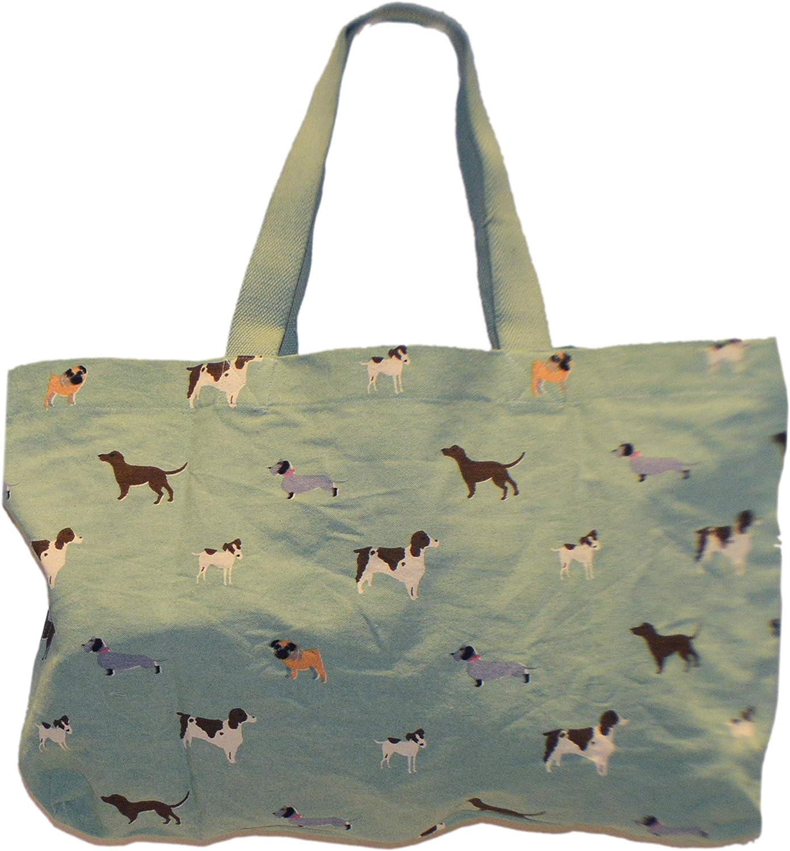 Large Tote Bag - Multi Dog Print on Mint Canvas, Multipurpose Cotton Travel Shopper Bag