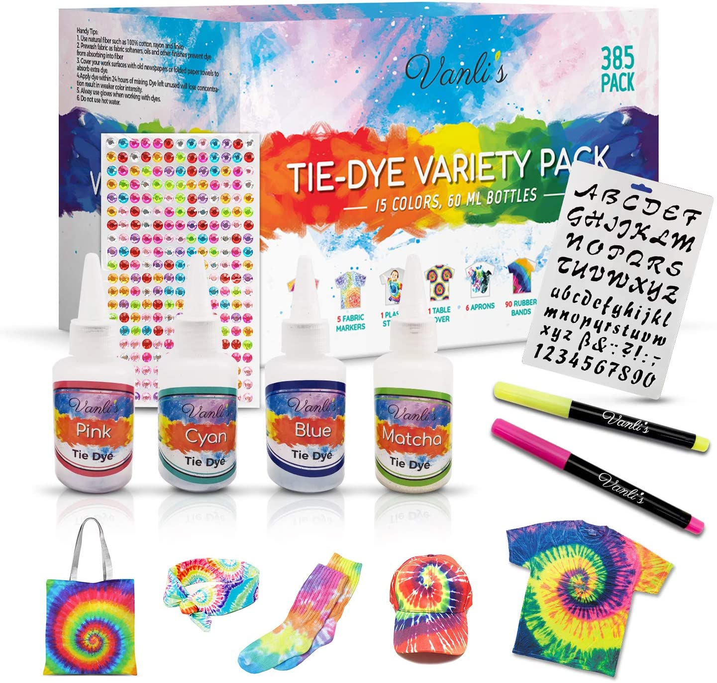 Seattle Mall Tie Dye Kit -15 Colors with 5 260 Ranking TOP4 Stencil Markers Ad and Fabric