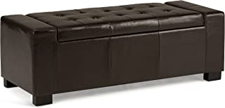 Simpli Home 3AXC-OTT231 Laredo 51 inch Wide Contemporary Rectangle Large Storage Ottoman in Tanners Brown Faux Leather