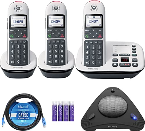 high quality Motorola CD5013 DECT 6.0 Cordless Phone with Answering Machine, outlet sale Call Block and Volume Boost, White, 3 Handsets Bundle with Blucoil 4 AAA Batteries, 10' Cat5 Cable, and USB outlet sale Conference Speakerphone online sale