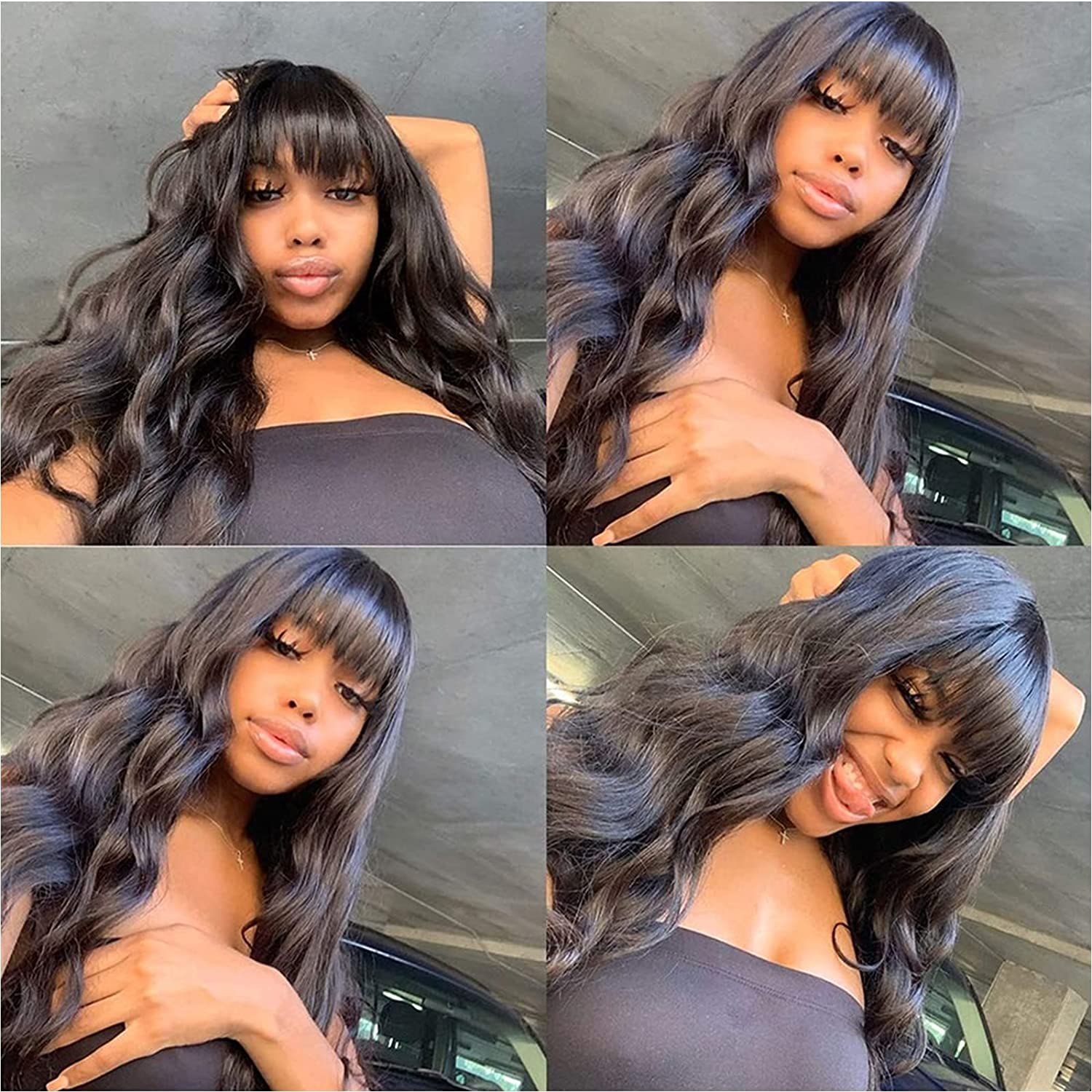 Limited time sale BINF Hair 16 inch 100% Human Wave Bangs Glue Wigs With Body Be super welcome