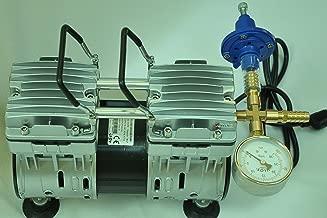 Controlled Twin Piston Oil-less Vacuum Pump 5.5CFM 3/4HP Regulator/Gauge Hardware Kit Pressure Control Oil-Free Clean No Oil Mist