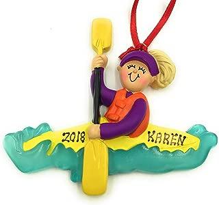 Personalized Kayak Female Blonde Canoe Ornament 2019
