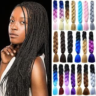 Ombre Jumbo Braids 100% Kanekalon Synthetic Braiding Hair Extensions 2 Tone for Box Braids Crochet Braids 24 Inch Dark Black/Silver Grey