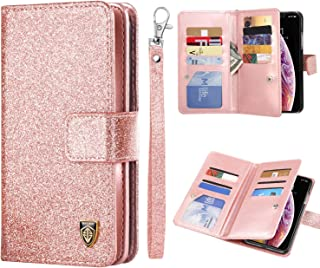 BENTOBEN iPhone Xs (2018) Case, iPhone X/10 Wallet Case, Glitter Bling Classy Leather Folio Flip Credit Card Holder Wristlet Shockproof Protective Phone Case for Apple iPhone X/10/XS, Rose Gold/Pink
