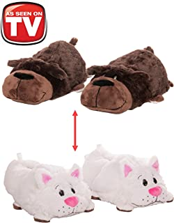 FlipaZoo AS SEEN ON TV Slippers Chocolate Lab Transforming to White Cat Size Medium - Two in One Warm & Comfy Plush Slippers