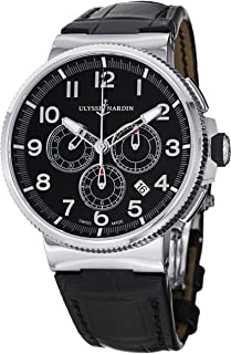 Marine Chronograph Manufacture Men's Black Leather Strap Automatic Watch 1503-150/62